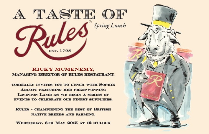 Invitation to the lunch featuring wonderful illustration by Russ Tudor.